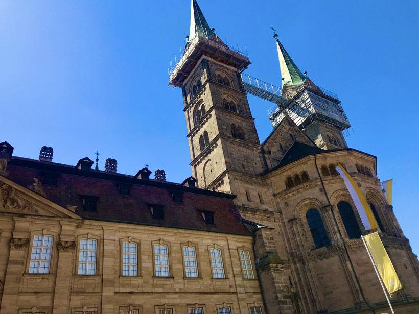 der Bamberger Dom prägt weithin sichtbar das Bild der Bamberger Altstadt