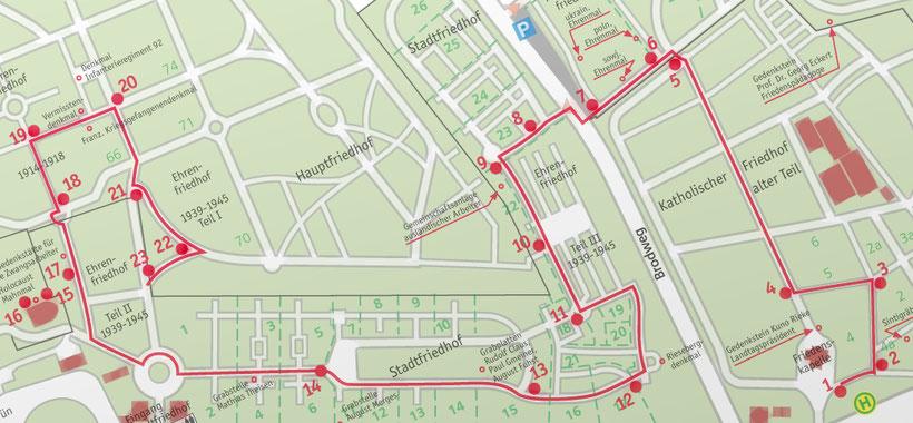 Plan des Friedenspfades auf dem Braunschweiger Hauptfriedhof