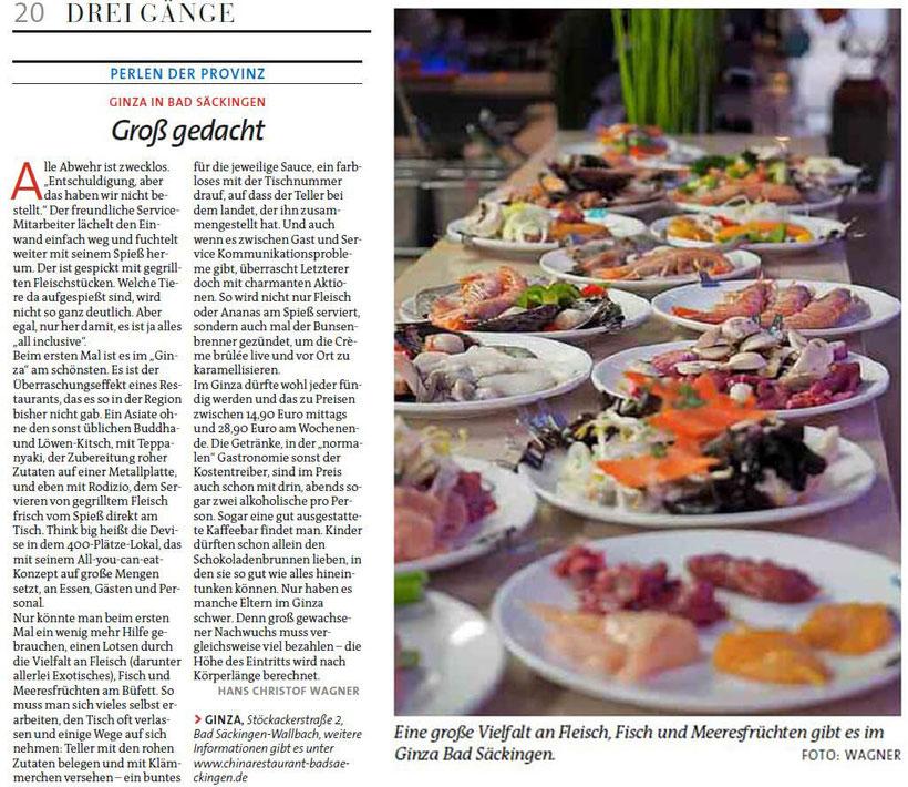 Zeitung der Sonntag, 17. Juni 2018. Bericht über das asiatische Buffet-Restaurant Ginza