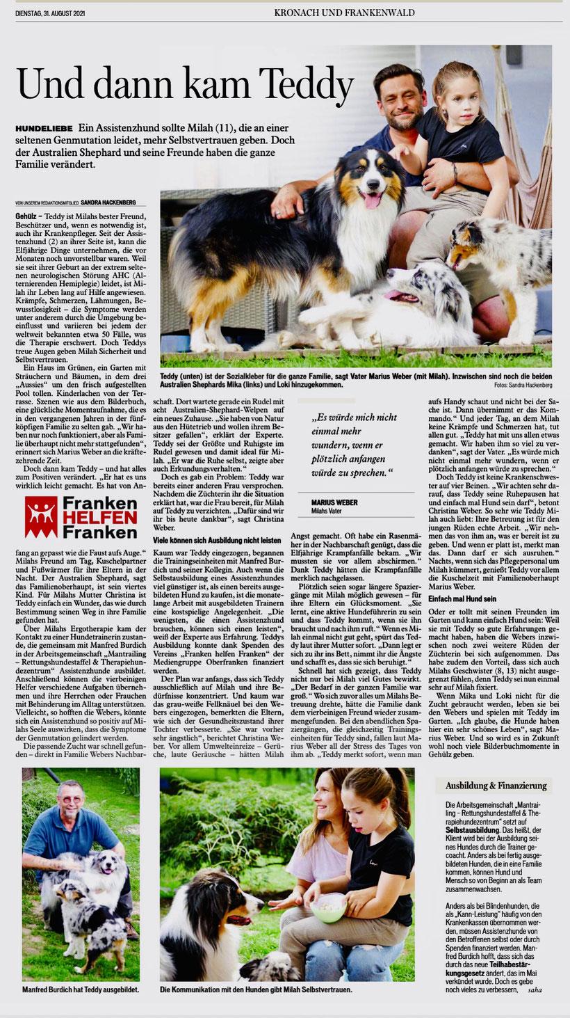 """Zeitungsartikel Kronach und Frankenwald """"Und dann kam Teddy"""" vom 31.08.2021"""