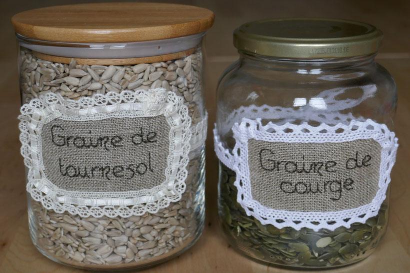 Pots de graines étiquetés