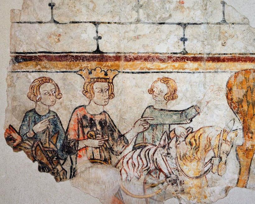Carlo Magno a caccia con alcuni vassalli, castello di Cruet