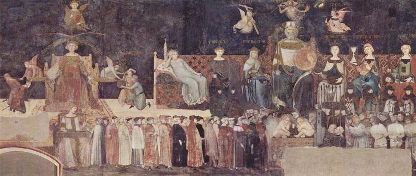 """Ambrogio Lorenzetti, """"Allegoria ed effetti del buono e del cattivo governo"""" (1338-39)"""