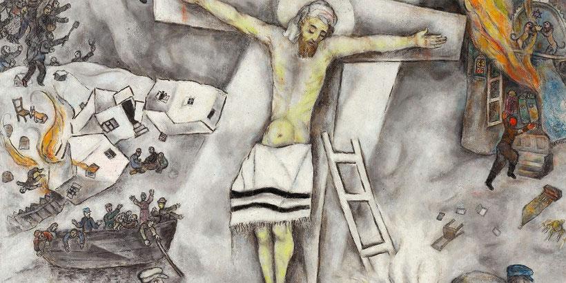 """M. Chagall, """"Crocifissione bianca"""" (1938), particolare"""