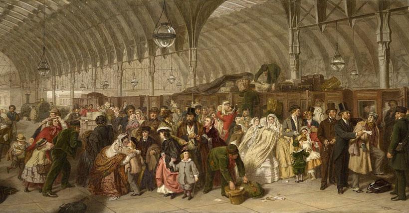"""William Powell Frith, """"La stazione ferroviaria"""" (1862)"""