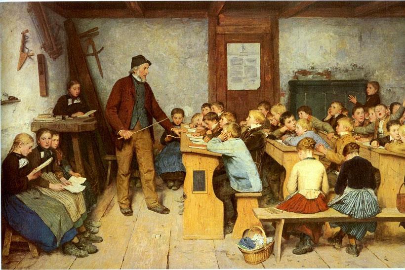 """Albert Anker, """"La scuola del villaggio"""""""