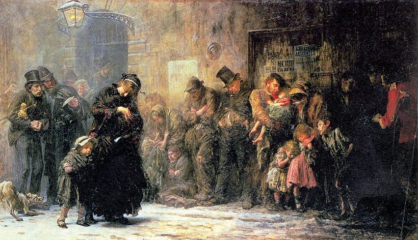 """Luke Fildes, """"Richiedente per un ricovero temporaneo"""" (1874)"""