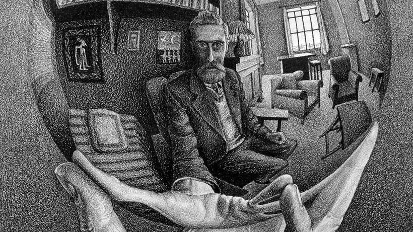 """M.C. Escher, """"Mano con sfera riflettente"""" (1935) [dettaglio]"""