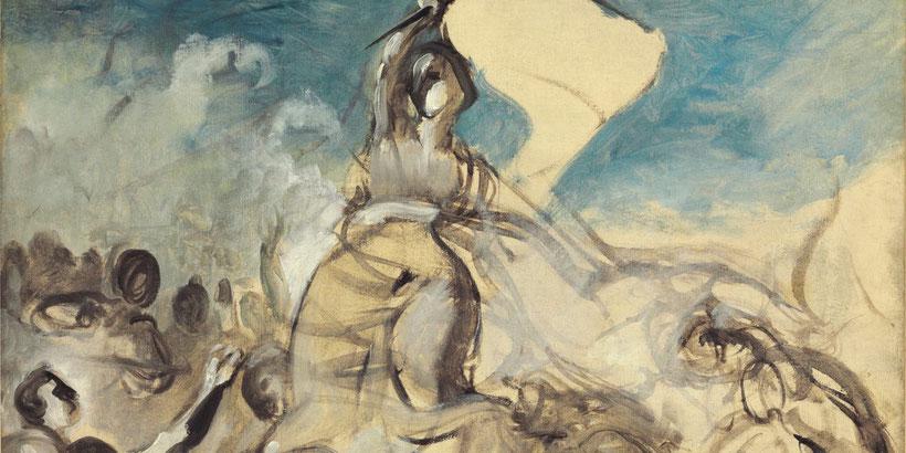 """Bozzetto de """"La Libertà guida il popolo"""" (1830) di Eugène Delacroix"""