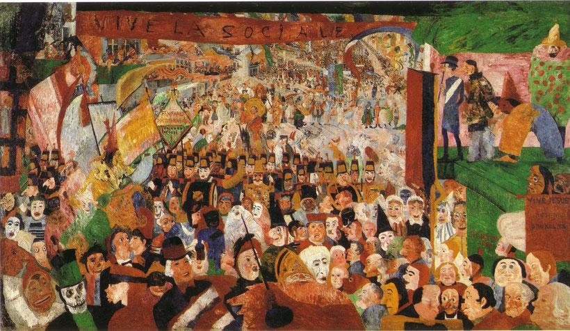 """James Ensor (1860-1949), """"L'entrata di Cristo a Bruxelles nel 1889"""" (1888)"""
