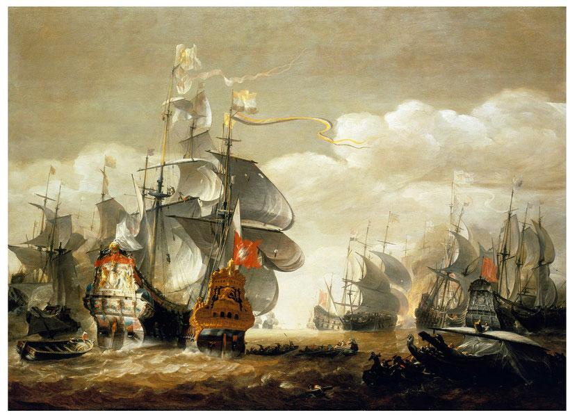 """Hendrik van Minderhout, """"La battaglia di Lowestoft"""" (1665 ca.)"""