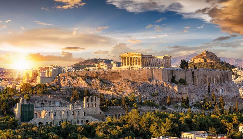 Acropoli di Atene al tramonto, oggi
