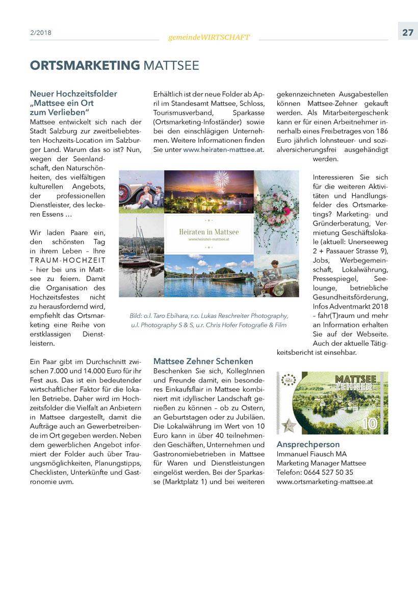 """Bürgerinformation Mattsee 2018-03, Wirtschaftsteil """"Ortsmarketing"""""""