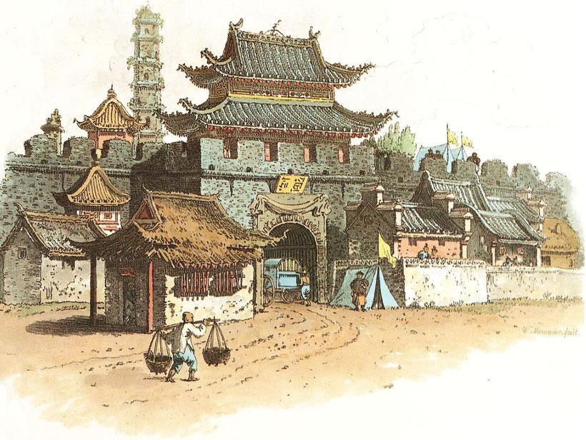 Porte méridionale de la ville de Ting-Hai, dans le havre de Chu-San.