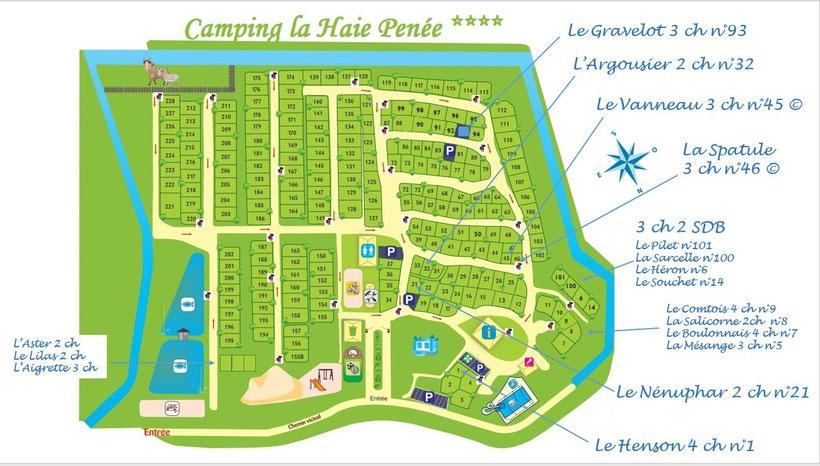 plan location - camping la haie penee - camping 4 etoile - baie de somme - picardie - vacances en famille - nature - animation - enfants - jeux gonflable - etang - peche - piscine - toboggan - espace aquatique - marquenterre
