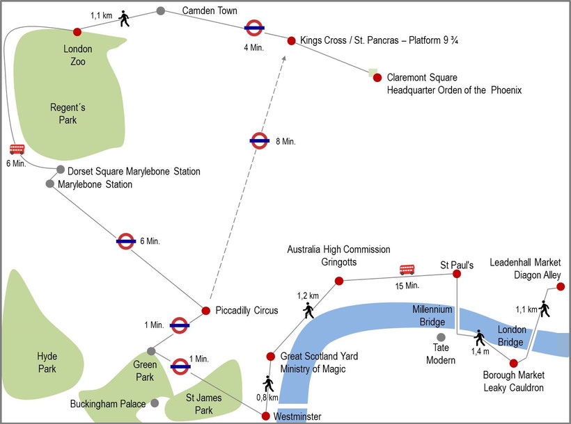 Map Harry Potter film locations in London