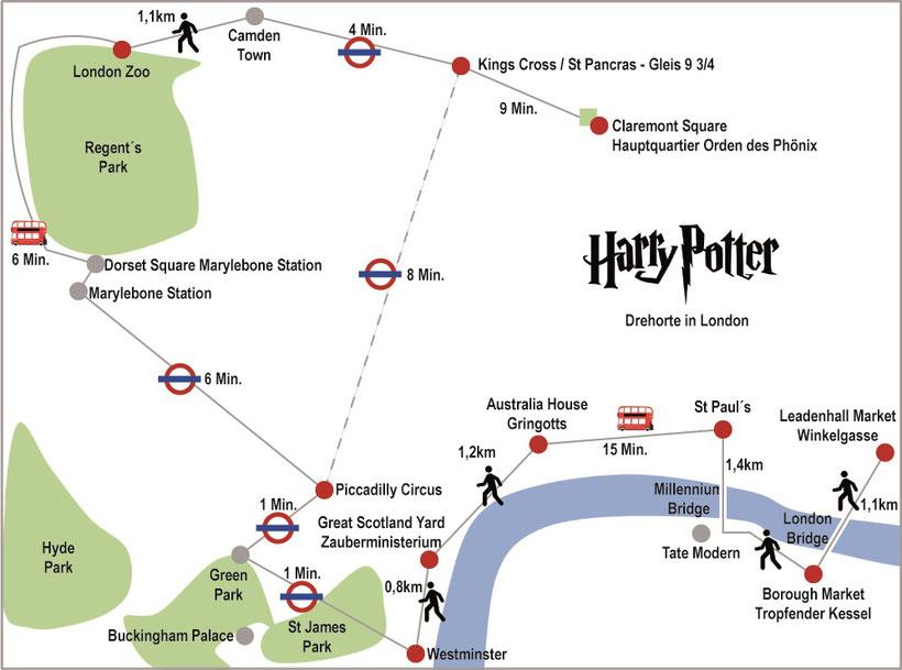 Karte Harry Potter Drehorte London