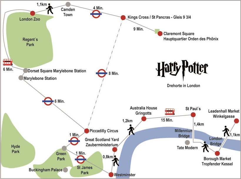 Karte Harry Potter Drehorte London