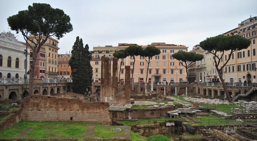 Largo di Torre Argentina in Rom - der Platz, an dem Caesar ermordet wurde