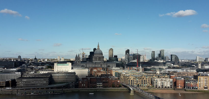 View at the City of London from the rooftop of Tate Modern