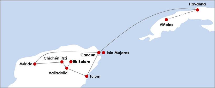 Kuba Mexiko Rundreise - die perfekte Reiseroute für 2 Wochen