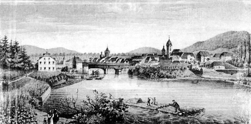 Rheinfelden Baden mit Haus Salmegg und rechts Rheinfelden Schweiz