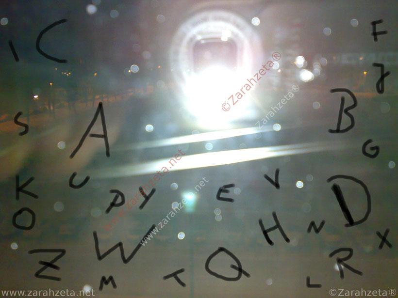 Buchstaben aus Alphabet auf Fensterscheibe