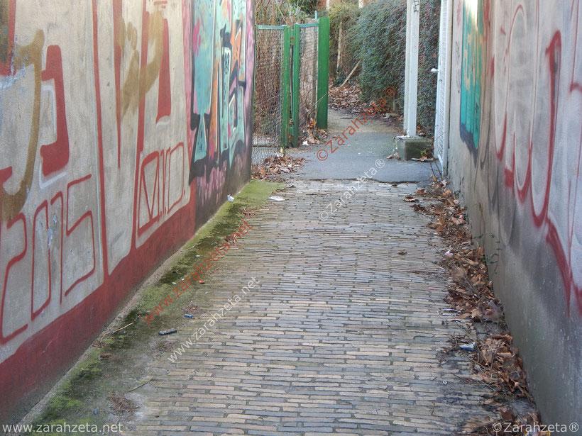 Verwahrloster Fußgängerweg mit Graffiti