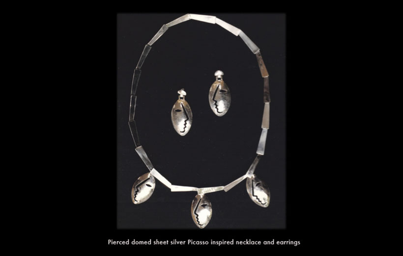 Pierced domed silver Picasso inspired necklace and earrings