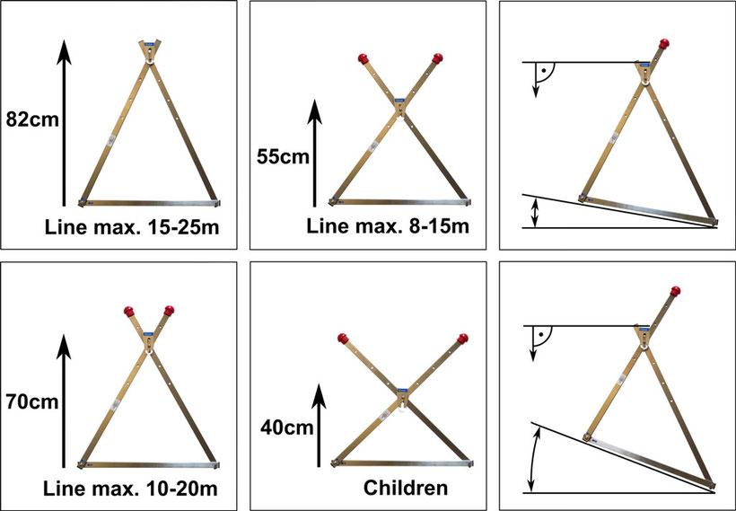 Höhenverstellung und Hangneigung für Slackline Frame