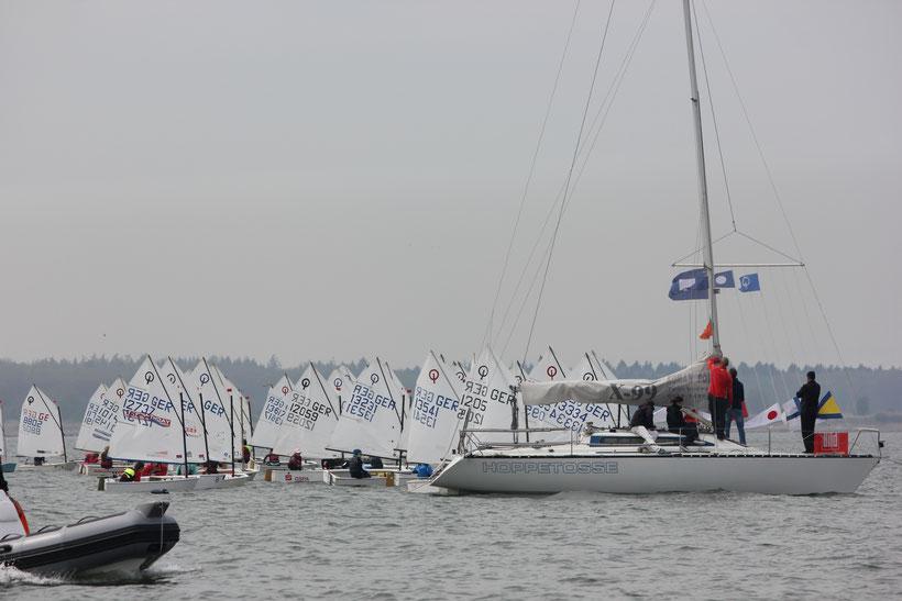 Greifswald Boddenpokal 2017: Startphase der zweiten Wettfahrt, Opti B