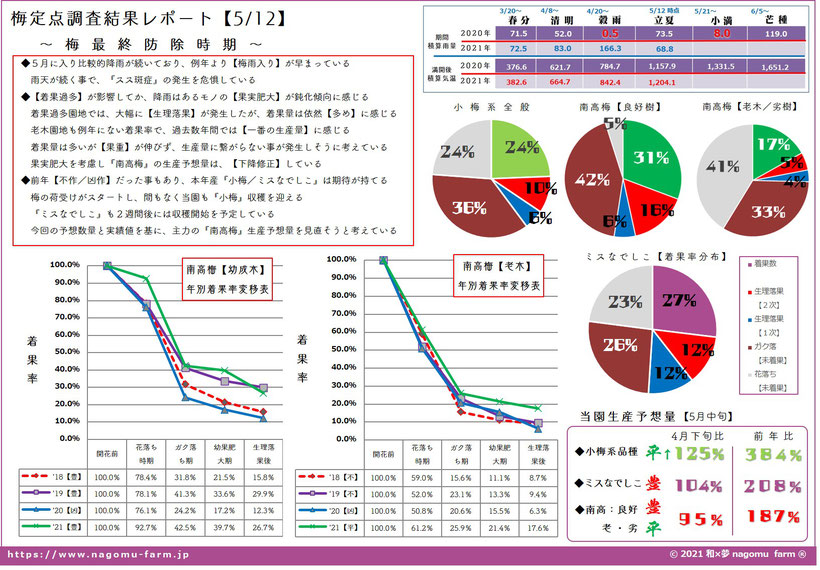 2021年産 梅定点調査レポート【4.12時点】和×夢 nagomu farm 低温障害