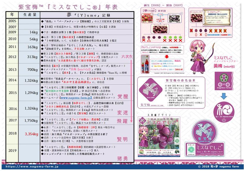ミスなでしこⓇ年表 [Y]ume記録  since 2005 和×夢 nagomu farm