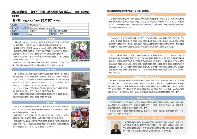 INPIT 知財総合支援窓口 事例紹介【和×夢 nagomu farm】