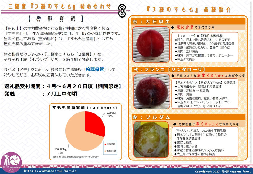 ふるさと納税返礼品 2018 三栖産『3種のすもも』詰め合わせ  詳細説明 和×夢 nagomu farm