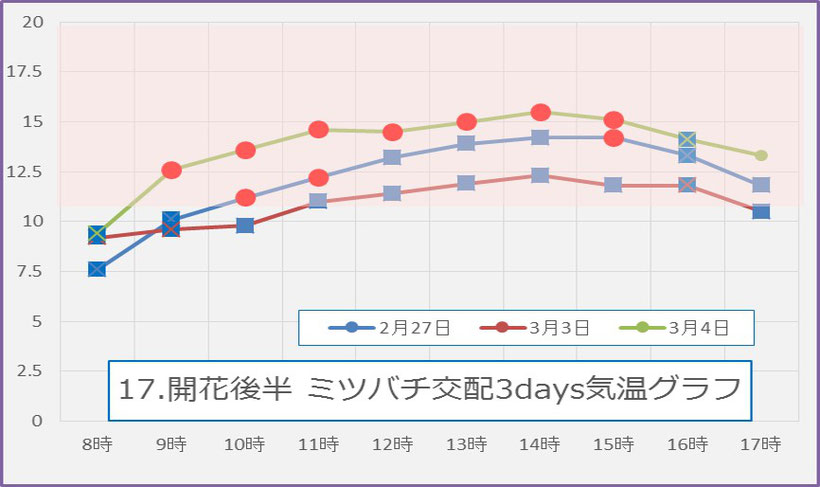 2017後期 蜜蜂交配3days 気温グラフ 和×夢 nagomu farm