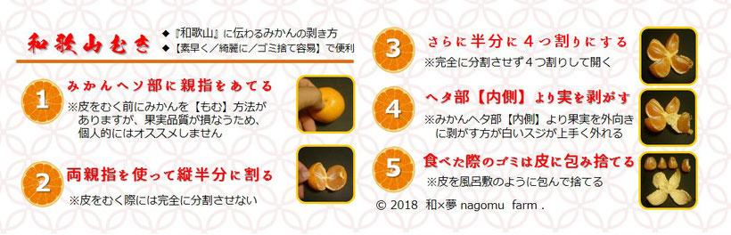 和歌山むき 和歌山に伝わるミカンの皮むき方 和×夢 nagomu farm