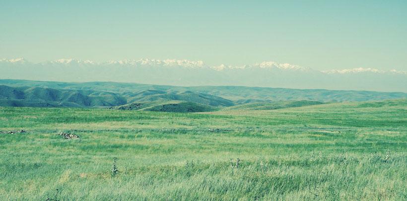 Kirgisistan Steppe und Tien Shan Gebirge