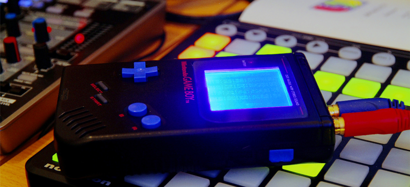 Backlit Game Boy playing LSDJ