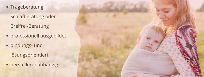 Eine Frau trägt ihr Baby in einem RingSling, nachdem sie eine Trageberatung in der Familienpraxis Mohnblume bei Iris Steger hatte. Trageberatung Reinickendorf, Trageberatung Tegel, Trageberatung Heiligensee, Trageberatung Wittenau, Trageberatung Frohnau