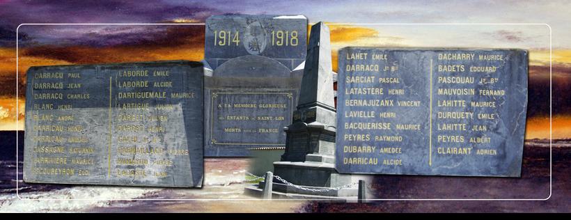 St Lon les Mines, pays d'Orthe, landes, aquitaine, sud-ouest, Grande Guerre, 1914-1918, monument aux morts, Craonne, Verdun, Chemin des Dames, Poilu, Mort pour la France, Somme, tranchée