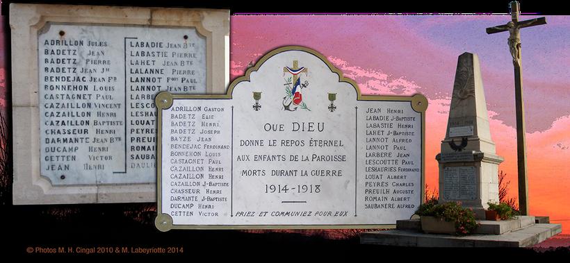 Cagnotte, pays d'Orthe, landes, aquitaine, sud-ouest, Grande Guerre, 1914-1918, monument aux morts, Craonne, Verdun, Chemin des Dames,  Poilu, Mort pour la France, Somme, tranchée
