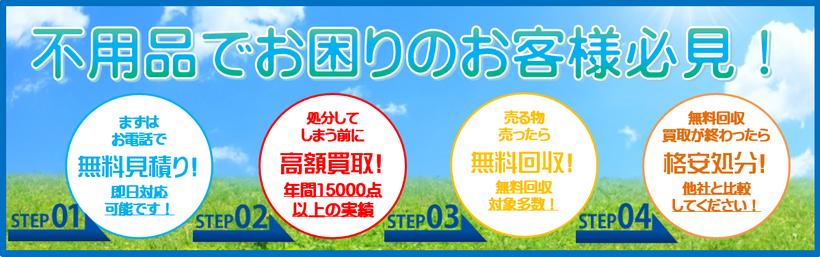 札幌リサイクルショップ「プラクラ」不用品買取・無料処分お問い合わせ情報