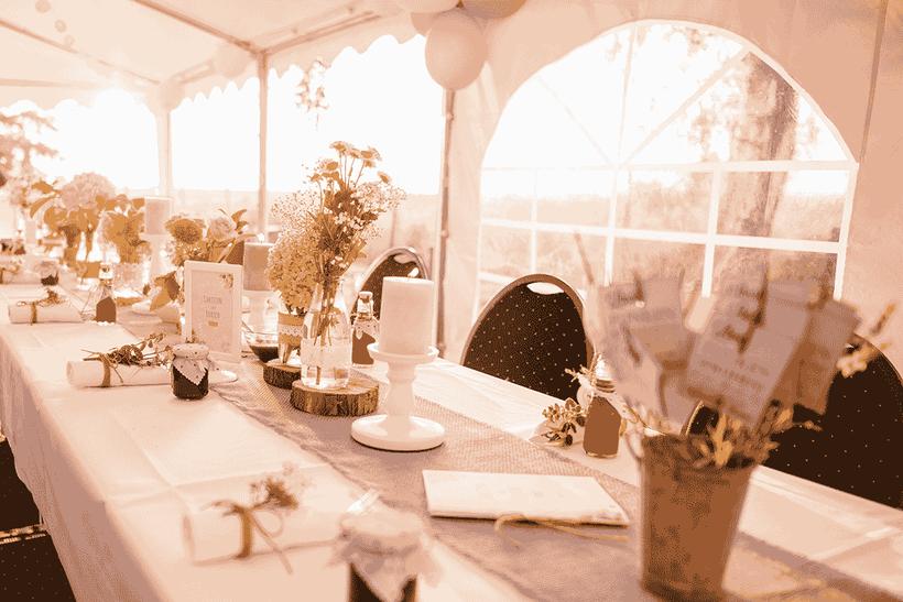 Eventzubehör und Deko auf einer Hochzeit
