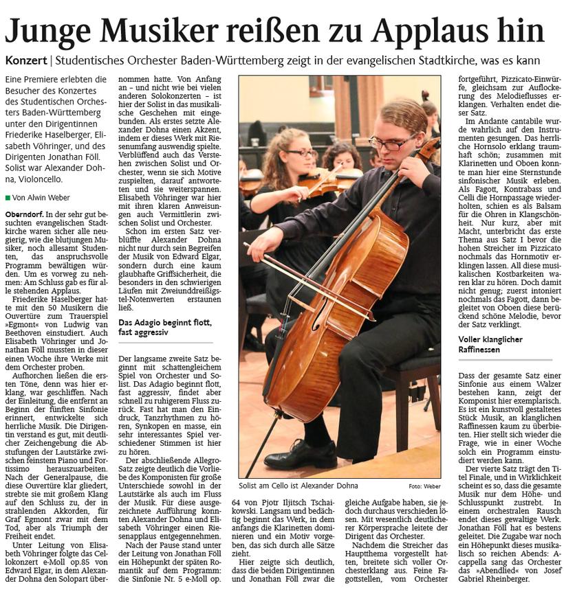 Schwarzwälder, Bote, Oberndorf, Musiker, Applaus