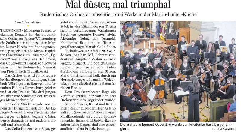 Zeitungsartikel, Schwäbische, Zeitung, Trossingen, Düster, Triumphal