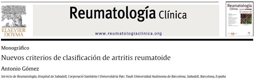 Nuevos Criterios Artritis Reumatoide, reumatologia