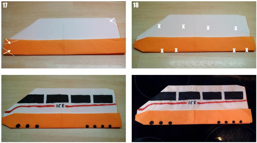 Tischdekoration Servietten falten Zug. Deko leicht und einfach DIY Bahn Servietten falten für Kinder. Anleitung ICE für Anfänger.