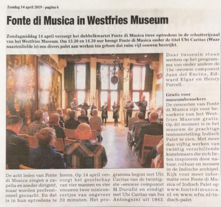 """Op 14 november in het """"Westfries Weekblad"""""""