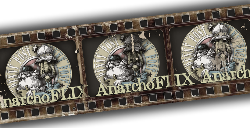 Anarchoflix - main logo with vintage film reel
